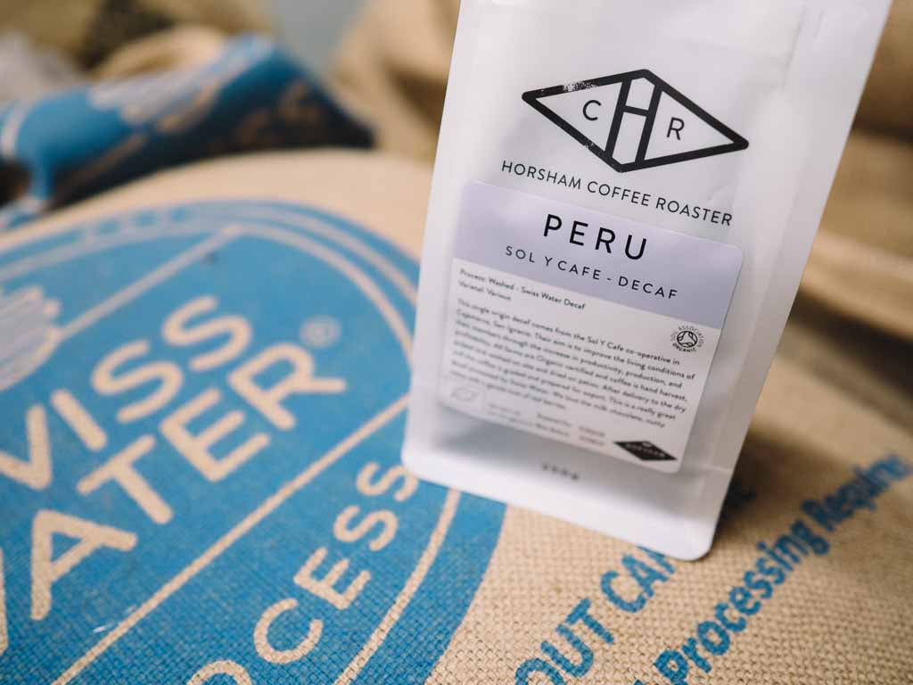 Decaffeinated coffee beans from Peru