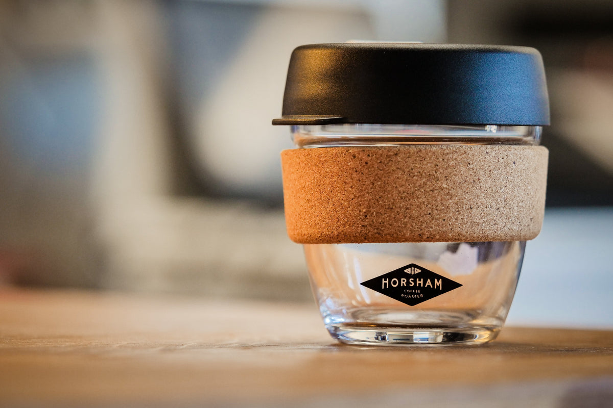 Keepcup 8oz glass cork - Horsham Coffee Roaster branded - Horsham Coffee Roaster