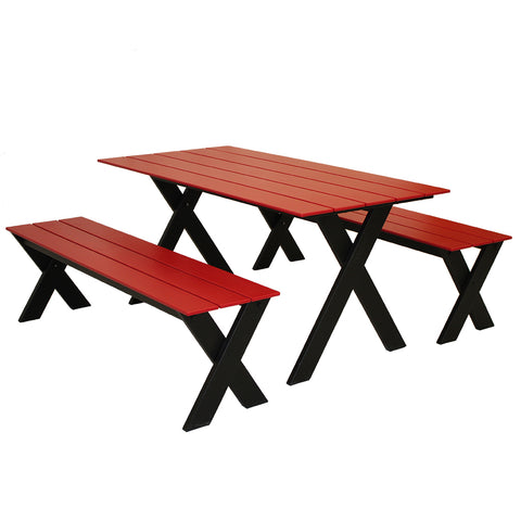 Plymouth Bay Dining Set in Black and Red