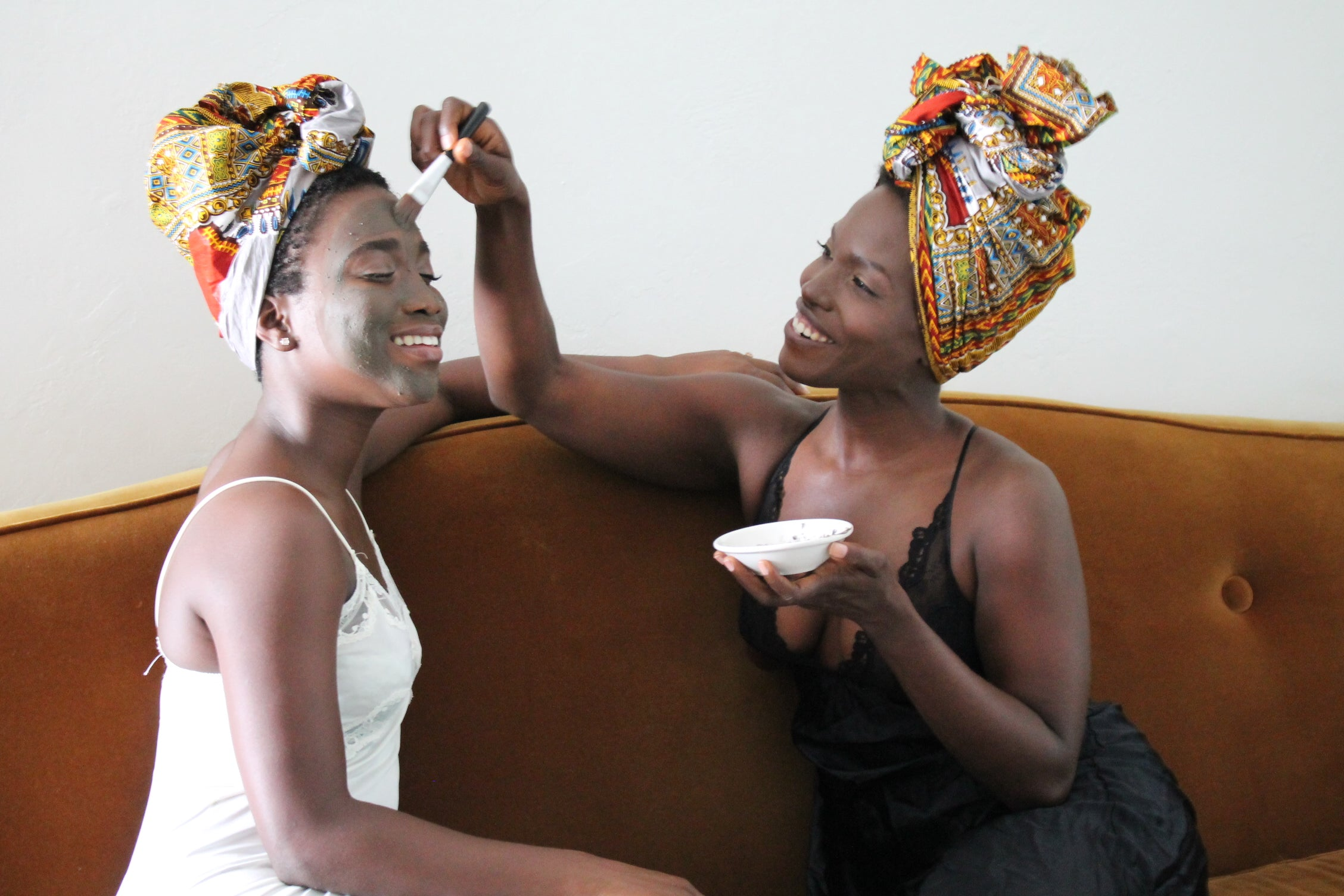 two black women, facial routines