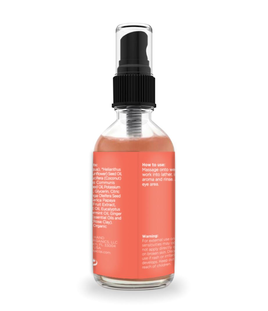 JACQ's travel size face cleanser, pink label, skincare ingredients