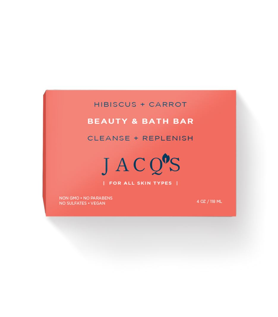 JACQ's hibiscus & carrot cleansing bar, pink packaging