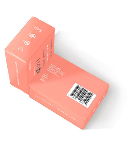 JACQ's label packaging, made in USA soap bars, pink packaging