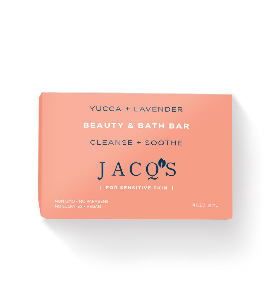 JACQ's Yucca & Lavendar Cleansing Soap Bar, Pink packaging