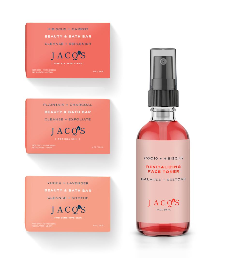 3 JACQ'S BEAUTY BARS, 1 BOTTLE HIBISCUS FACE TONER