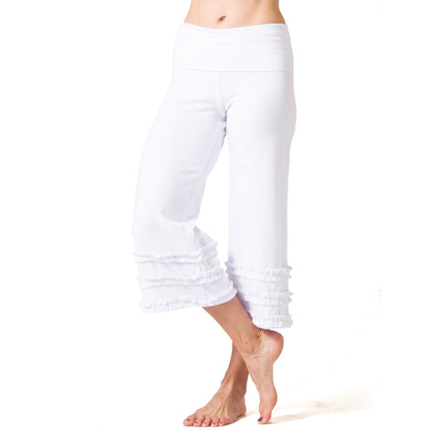 Wisdom Ruffled Yoga Capris - White