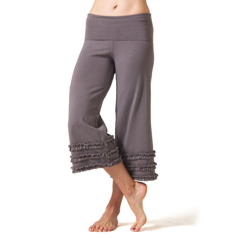 Wisdom Ruffled Yoga Capris - Charcoal