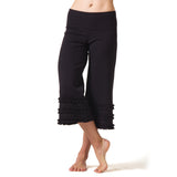 Wisdom Ruffled Yoga Capris - Black