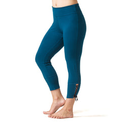 Love Lace-up Capri Leggings teal