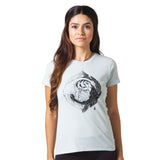 Yin Yang Graphic T-shirt by Zane Prater Organic Cotton T-Shirt Womens - Blue/Green