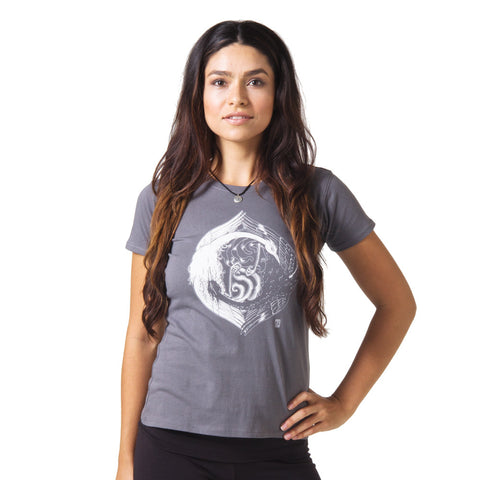 Yin Yang Graphic T-shirt by Zane Prater Organic Cotton T-Shirt womens gray