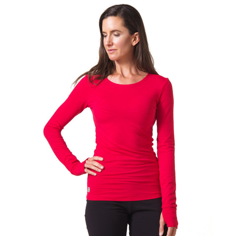Strength Bamboo Long Sleeve T-shirt red