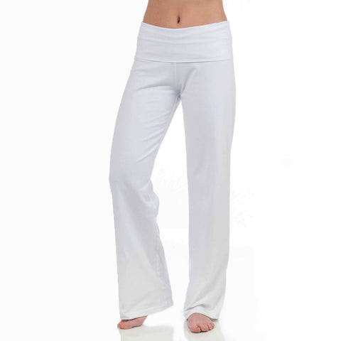 Wisdom Fold Over Yoga Pants white