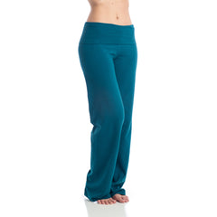 Wisdom Fold Over Yoga Pants Long teal
