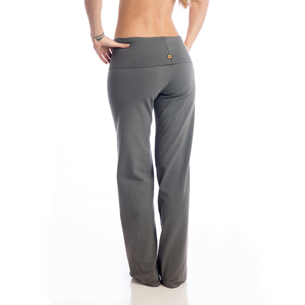 Wisdom Fold Over Yoga Pants - Charcoal LONG