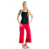 Wisdom Ruffled Yoga Capris - Red