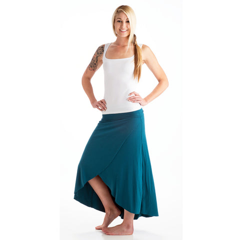 Grace Bamboo High Low Skirt dark teal