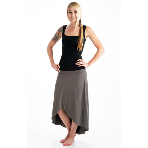 Grace Bamboo High Low Skirt gray