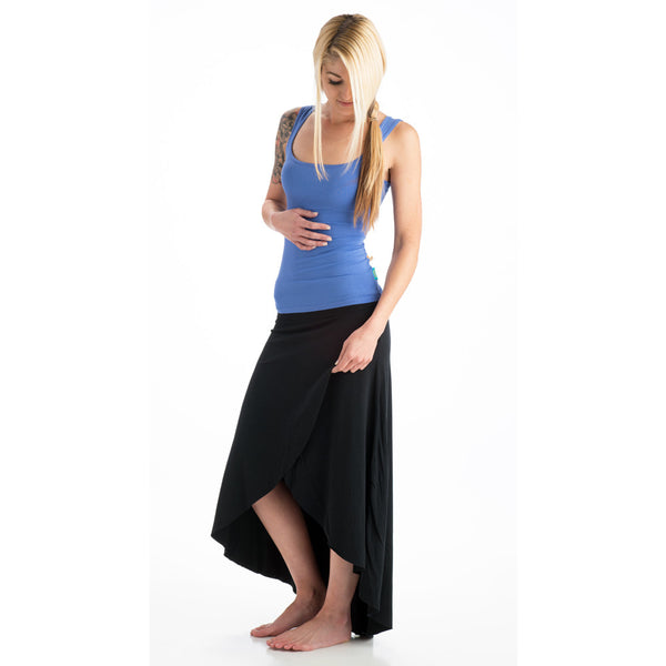 Grace Assymetrical Bamboo Skirt Black