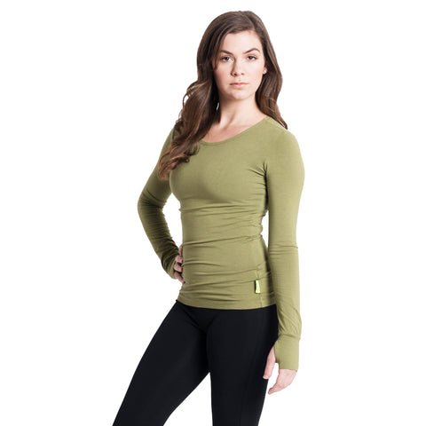 Strength Bamboo Long Sleeve T-shirt - Olive/Green