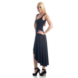 Grace Asymmetrical Maxi Tank Dress - Black