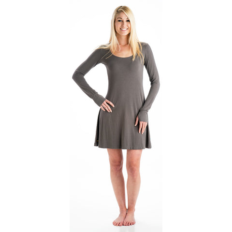 Strength Long Sleeve Bamboo Dress gray