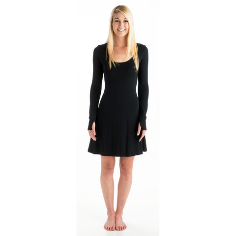 Strength Long Sleeve Bamboo Dress - Black