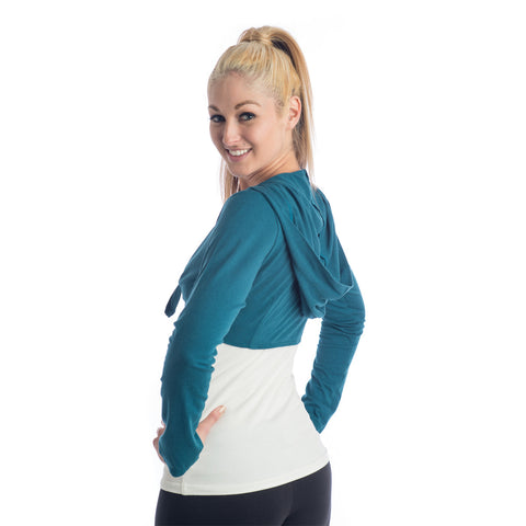 Love Bamboo Cropped Hoodie teal