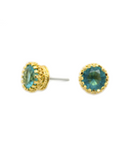 Cubic Round Stud Earrings (GOLD)