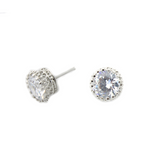 Cubic Round Stud Earrings (SILVER)