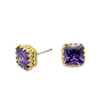 Cubic Square Stud Earrings (GOLD)