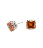 Cubic Square Stud Earrings (SILVER)