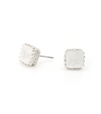 Quartz Square Stud Earrings (SILVER)