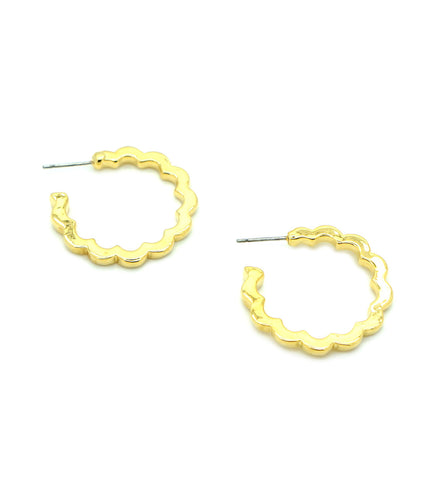 Scalloped Edge Hoop Earrings