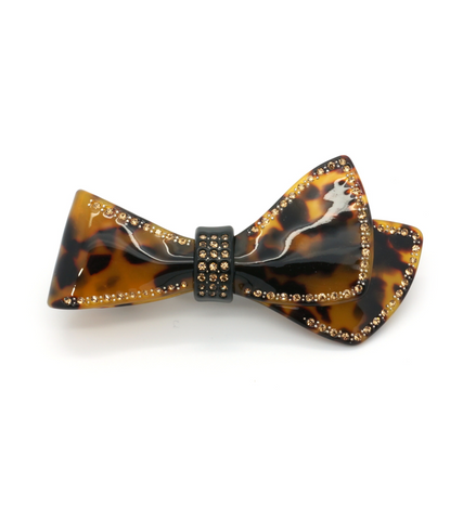 Tortoise Embellished Sweep Bow Barrette