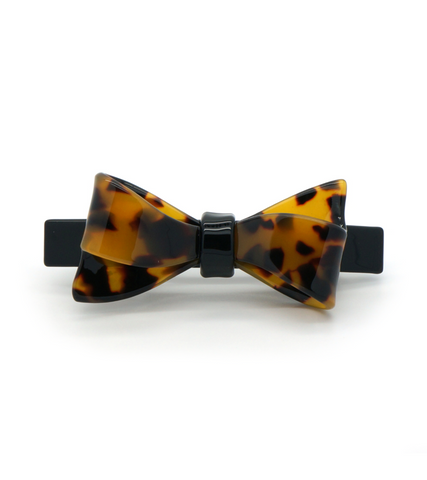 Tortoise Two-Tone Bow Barrette