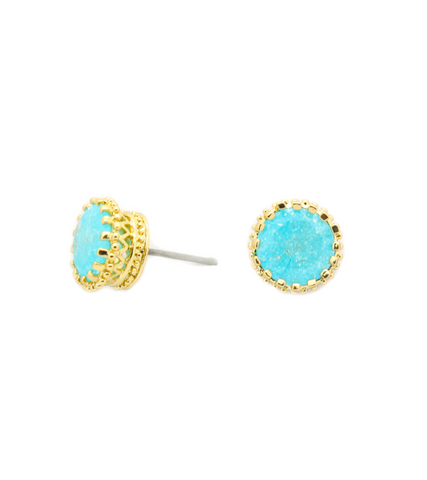 Quartz Round Stud Earrings (GOLD)