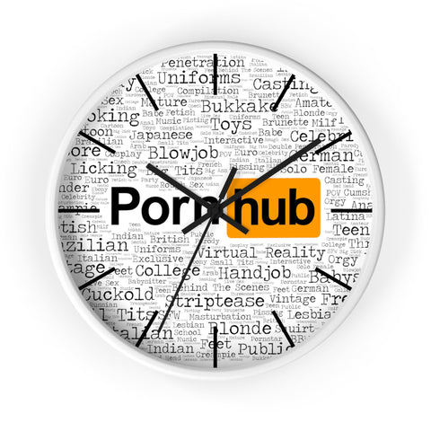 Pornhub Categories Clock White Face - Pornhub Apparel