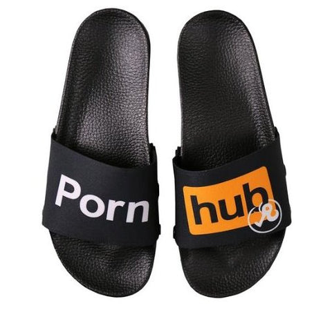 - NEW COLLECTION - Richardson x Pornhub Black Logo Slides - Pornhub Apparel