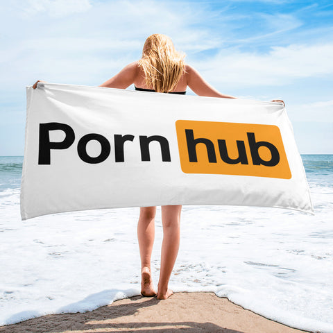 Pornhub White Beach Towel - Pornhub Apparel