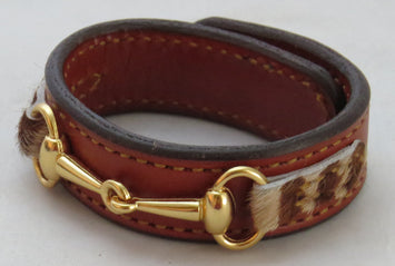 Fine Leather Bit Bracelet Faux Fur