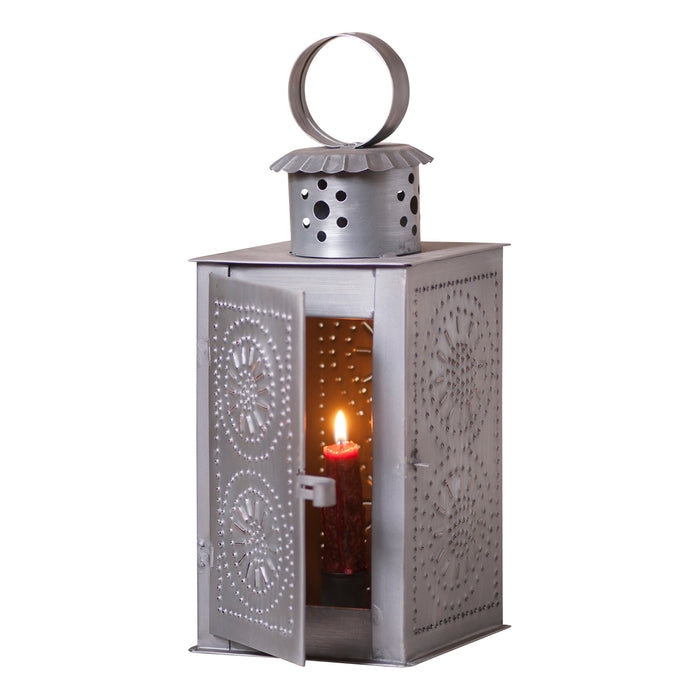 WATCHMAN'S LANTERN - Punched Tin Candle Holder in Antique Finish