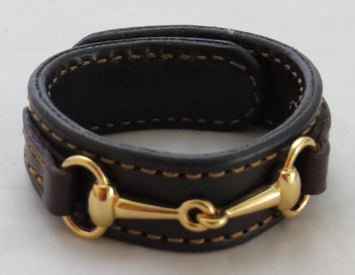 FINE LEATHER HORSE BIT BRACELET Black & Brown Gold Equestrian Snaffle