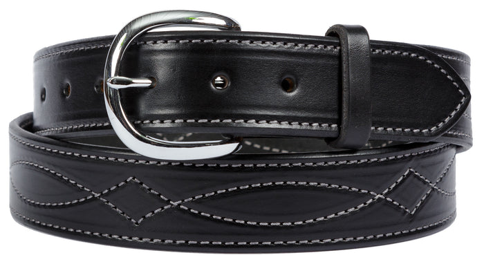 FANCY STITCH LEATHER BELT - Wide Thick Leather in 4 Colors