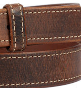 DISTRESSED & STITCHED LEATHER BELT - Soft & Durable with Roller Buckle