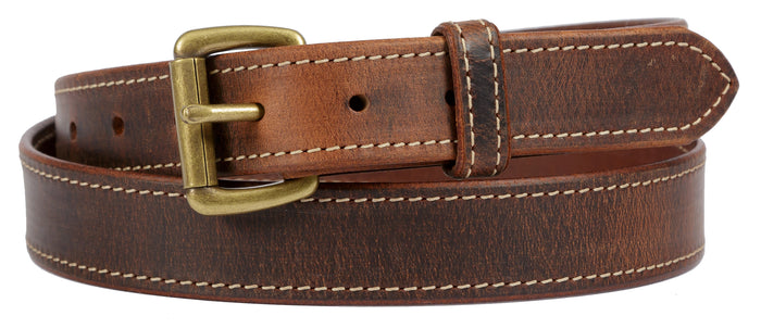DISTRESSED & STITCHED LEATHER BELT - Soft & Supple with Roller Buckle