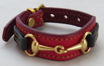 Red Black Snaffle Bit Bracelet Gold