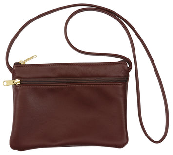 CROSSBODY LEATHER BAG - Double Zipper Shoulder Purse in 17 Colors