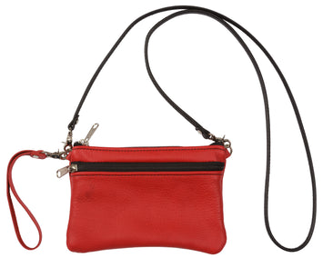 CLUTCH WRISTLET & SHOULDER BAG - Double Zipper Purse in 17 Colors