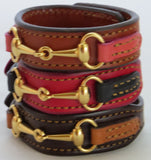 LEATHER HORSE SNAFFLE BIT BRACELET Black & Red with Gold Equestrian Buckle Hardware